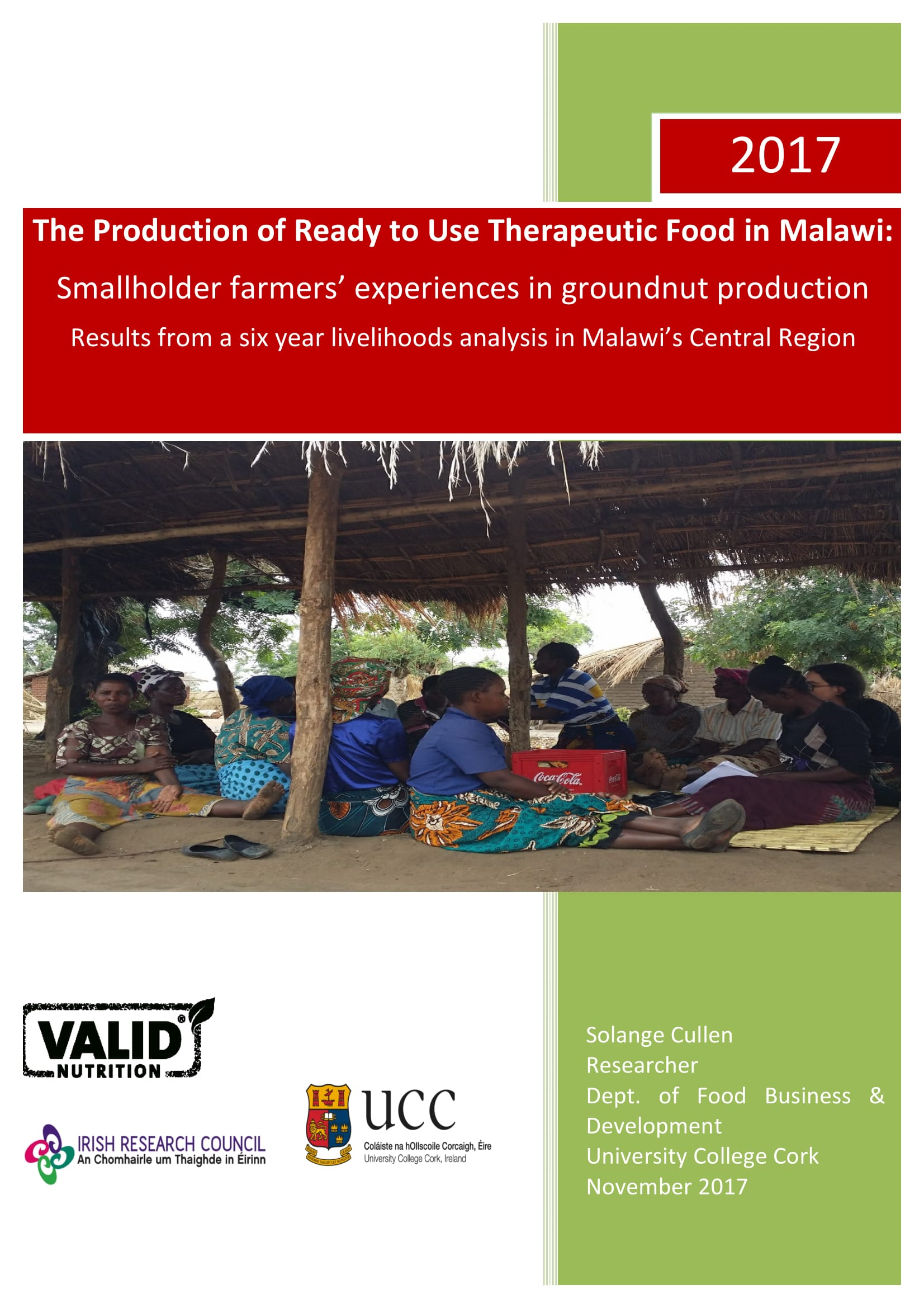 UCC's Department of Food Business & Development collaborates with Valid Nutrition in research to combat malnutrition and support livelihoods in Malawi: Meeting on 20th November